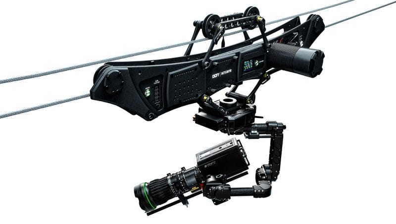 Defy Dactylcam 1D cable cam with NEWTON stabilized remote head for live TV broadcast