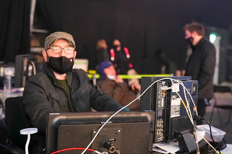 Dominic Jackson operating a NEWTON stabilized remote camera system on Dancing on Ice handheld TV broadcast