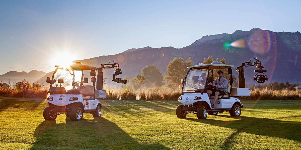 Camera vehicles for live TV: NEWTON stabilized head on golf cart