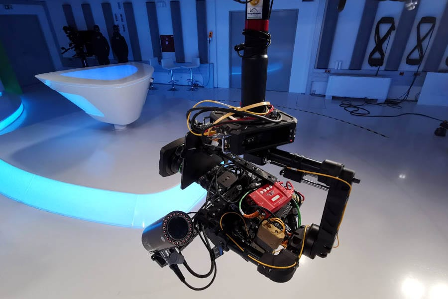 NEWTON gimbal on spidercam 3D cablecam in TV news studio