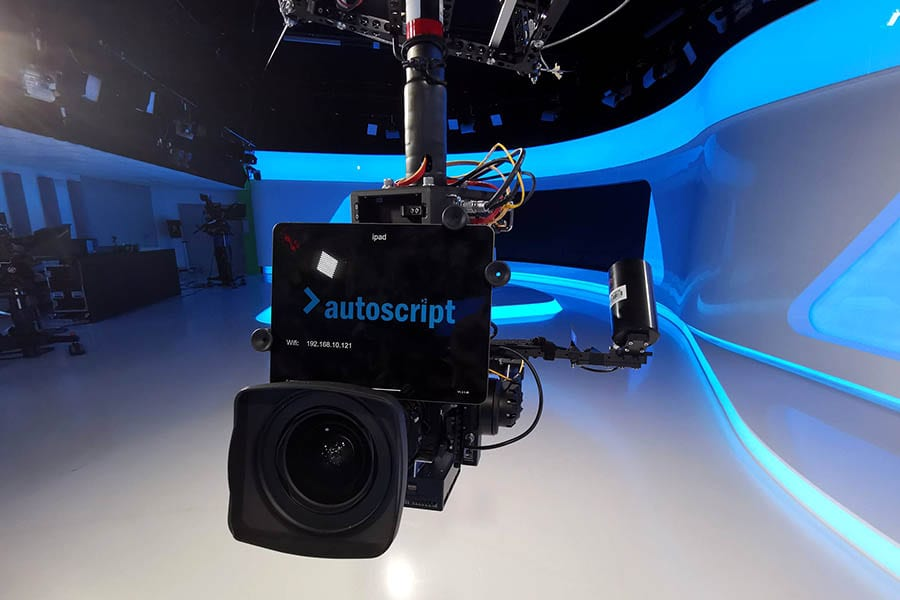 NEWTON gimbal with teleprompter on spidercam 3D cablecam in TV news studio