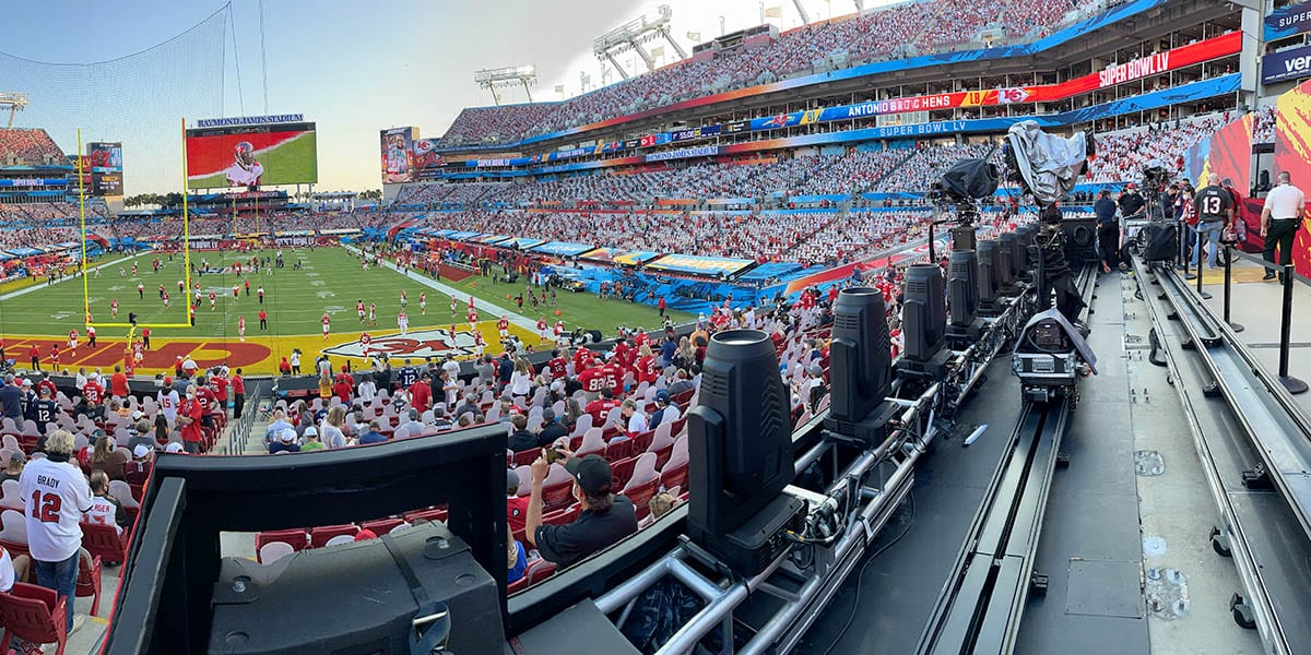 NEWTON 3-axis gimbal S1 stabilized remote head with Arri Alexa Mini on telescopic tower remote dolly camera system at live TV broadcast of Superbowl halftime Weeknd show