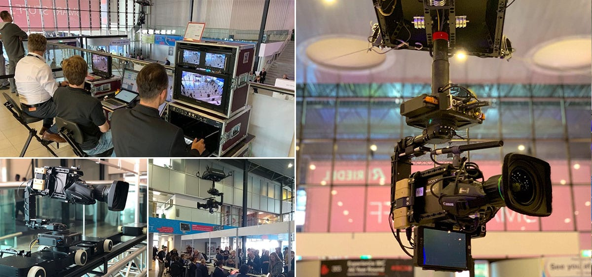 NEWTON stabilized head on Spidercam cable cam at IBC 2019