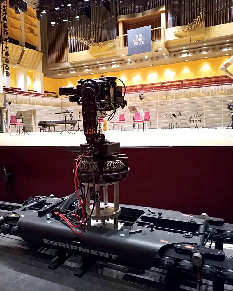 NEWTON stabilized head on remote controlled camera dolly for live TV broadcast