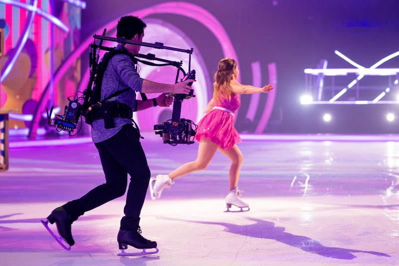 NEWTON stabilized remote camera system at handheld skating with Jordan Cowan at live TV broadcast