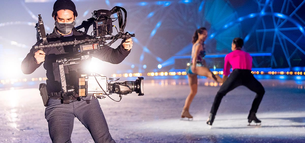 NEWTON stabilized remote head as handheld skating camera system at live TV broadcast