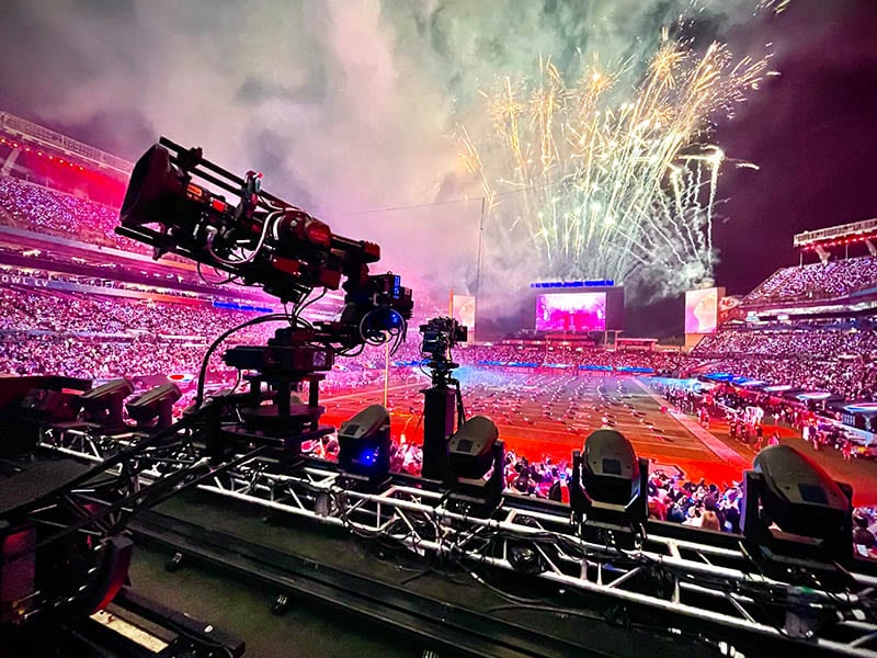 2 NEWTON stabilized remote heads with Arri Alexa Mini on remote dollies camera system at live TV broadcast of Superbowl halftime Weeknd show