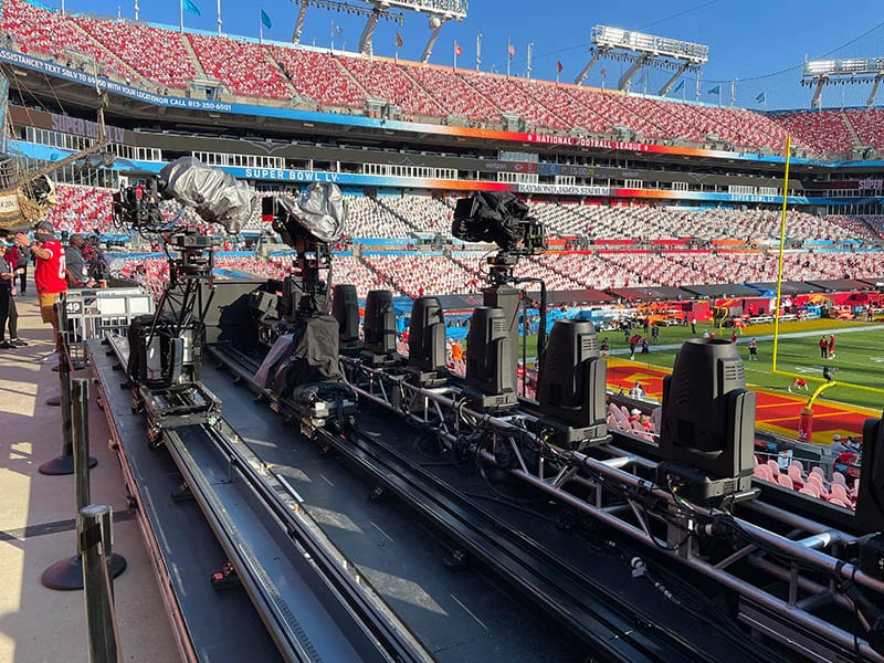 NEWTON stabilized remote head with Arri Alexa Mini on telescopic tower remote dolly camera system at live TV broadcast of Superbowl halftime show