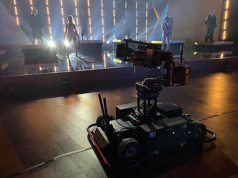 Newton stabilized 3 axis gimbal on RTS MagCam remote dolly at Grammy Awards 2021