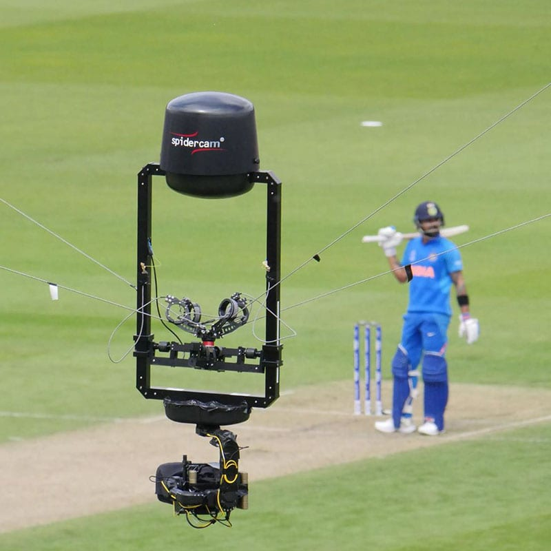 Newton stabilized head on spidercam 3D cable cam cricket