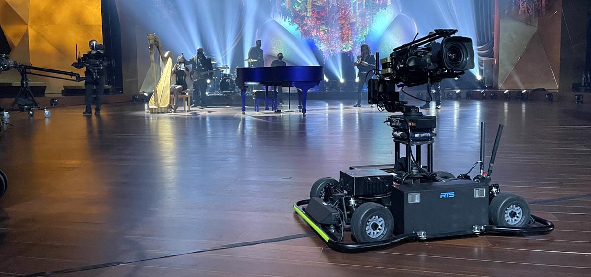 Newton stabilized head on RTS MagCam remote dolly at Grammy Awards 2021