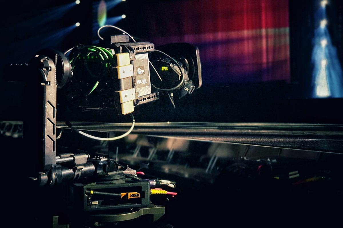 Newton stabilized head on rail G-Track dolly with TV camera at Swedish Eurovision qualifications