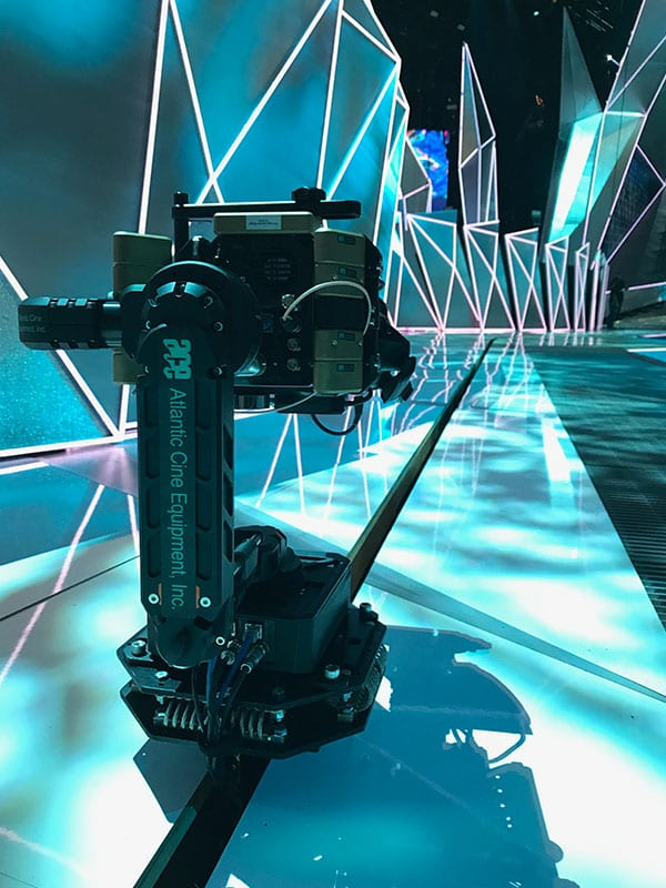 Newton stabilized remote head on camera track system at MTV VMAs Atlantic Cine Equipment