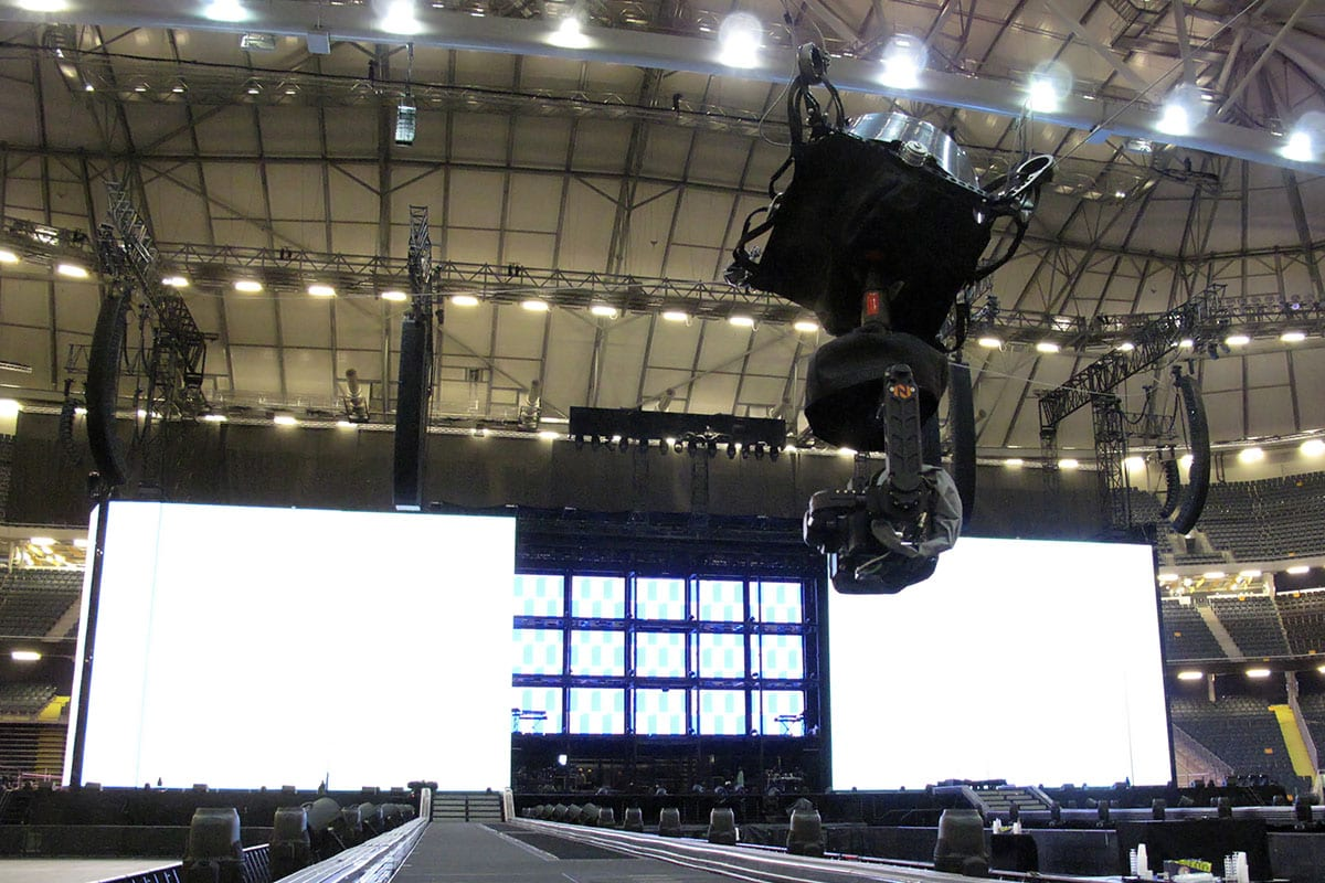 Newton stabilized head on spidercam light cable cam Beyonce tour 2018