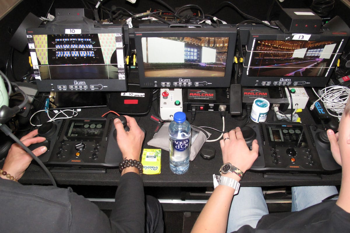 Newton stabilized head controllers operators railcam at Beyonce tour 2018