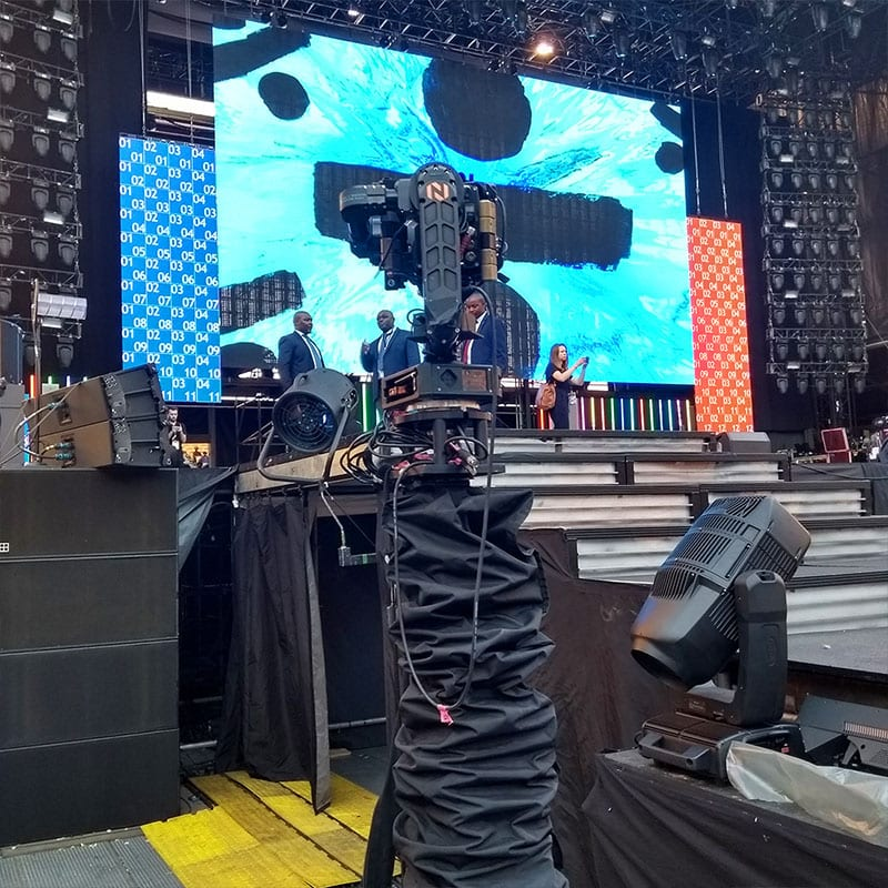 Newton stabilized remote head on telescopic RTS rail cam at Global citizen 2018