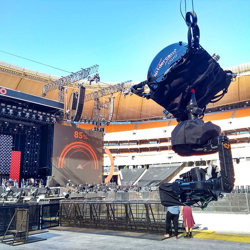 Newton stabilized remote head on cable cam at Global citizen 2018