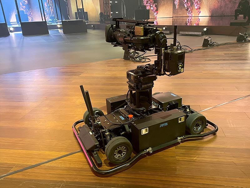 Newton stabilized remote head on RTS MagCam remote dolly at Grammy Awards 2021