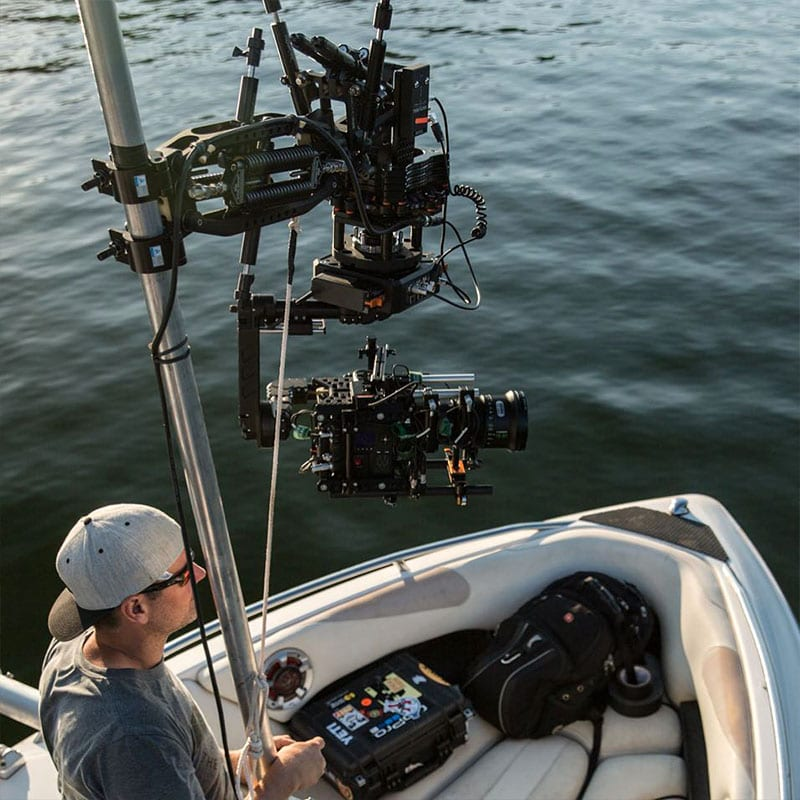 Newton stabilized remote head on boat