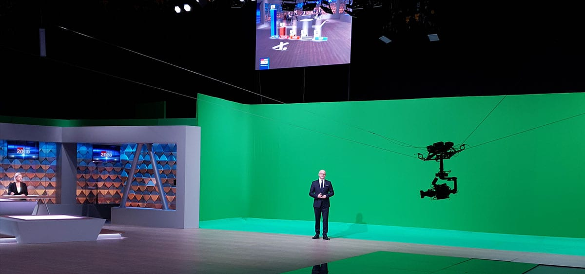 NEWTON stabilized camera head on Spidercam in AR-studio for TV broadcast of Croatian elections
