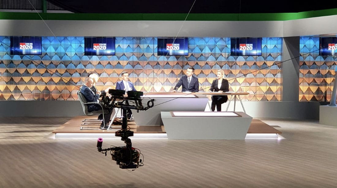 NEWTON stabilized camera head on Spidercam in studio for TV broadcast of Croatian elections