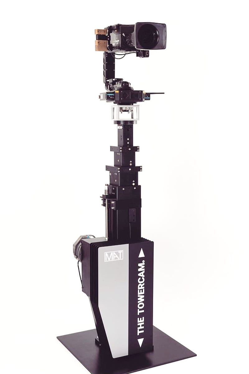 Newton stabilized remote head on tower cam