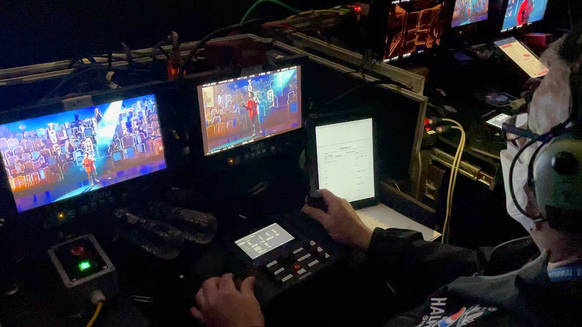 Camera operator NEWTON stabilized remote head at live TV broadcast of Superbowl halftime Weeknd show