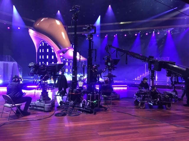Newton stabilized remote head on tower and remote dolly at Grammy Awards 2021
